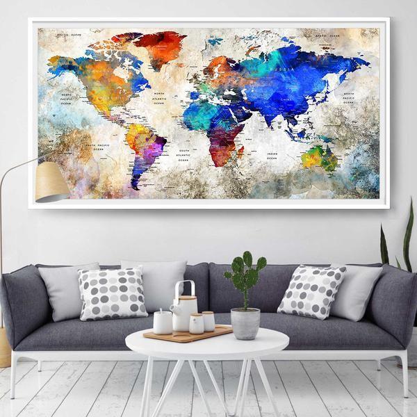 Push Pin World Map LARGE Wall Art World Map Watercolor Countries - World Map with Large, Push Pin It Map, Pin it Adventures, Gift Idea (L66)