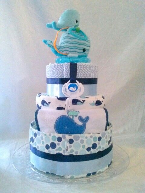 3 Tier Whale Themed Diaper Cake ~CornerStorkBakery.com
