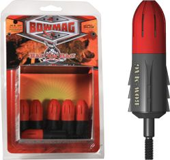A Revolutionary New Bowhunting Product Simply secure your .38 or .357 Magnum round into the Bow-Mag Arrowhead cylinder, turn until the casing threads lock in place, then attach to your standard arrow shaft or crossbow bolt. The Bow-Mag is designed with safety in mind, ensuring that rounds will not fire until they hit your intended target, delivering firepower, Magnum impact and maximum stopping force where you want it.