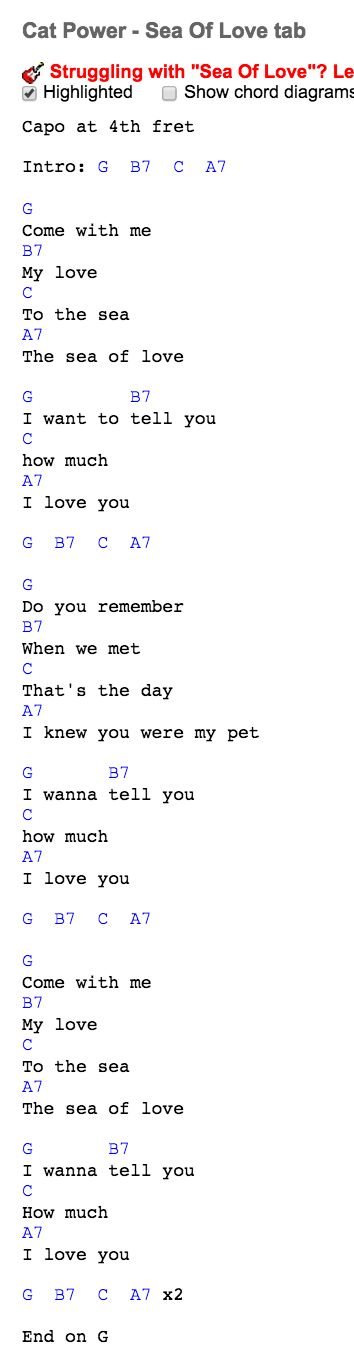 "Guitar chords ""in G"" for Cat Powers - Sea of Love from the movie Juno at http://www.guitaretab.com/c/cat-power/22527.html"