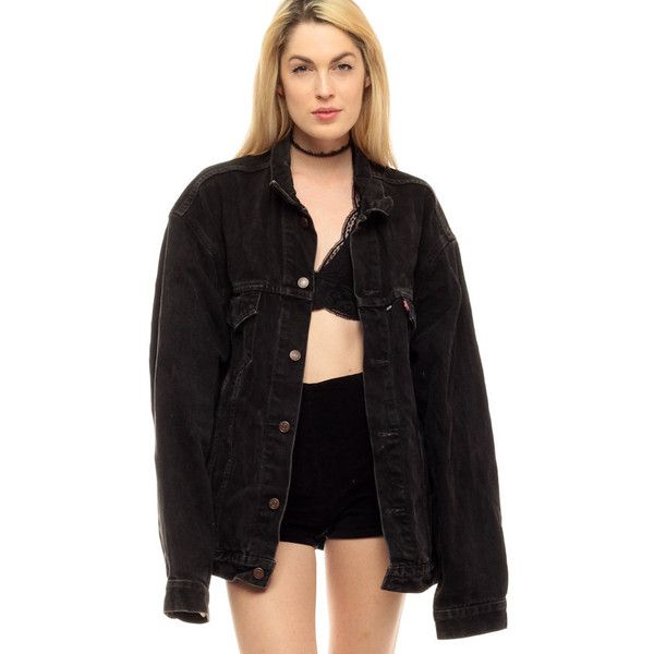 Black Levis Jacket Black Denim Jacket 80s Levi Jean Oversized Faded... ($55) ❤ liked on Polyvore featuring men's fashion, men's clothing, vintage men's fashion, 80s mens clothing, mens clothing and 80s men's fashion