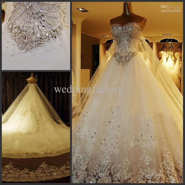 Cheap Luxury Real Image High Quality Ball Gown Wedding Dresses A Line Sweetheart Bling Stones Crystals Bridal Gowns Long Train Lace Applique As Low