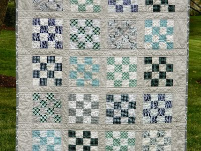 s.o.t.a.k handmade: 16 patch {a finished quilt} - aqua, navy, gray, white and a touch of black :)