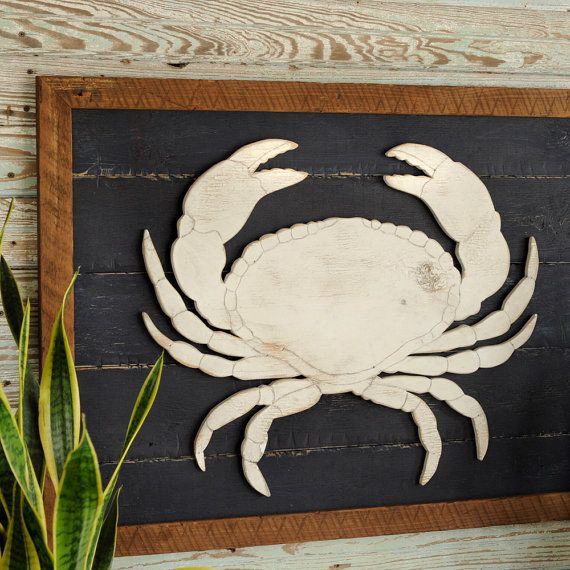 Rustic Crab Art Wooden Framed Wall Art by SlippinSouthern on Etsy