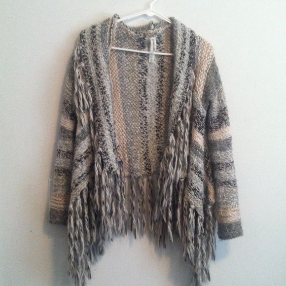 Fringe sweater SALE 1 HR Super soft  sweater sz small. Only worn a couple times. Bethany Mota Sweaters Shrugs & Ponchos