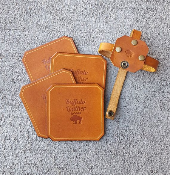 Leather Coasters  Coaster Set of 4  by BuffaloLeatherGoods on Etsy