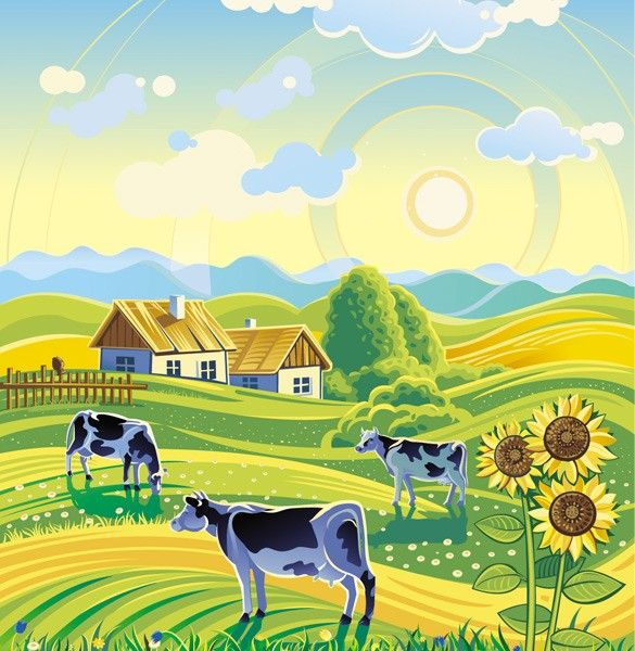Resource Graphics: Farms Vector, Sunny Rural, Backgrounds Vector, Rural Farms, Vector Landscape, Landscape Backgrounds, Farms Landscape, Farms Life, Country Cows