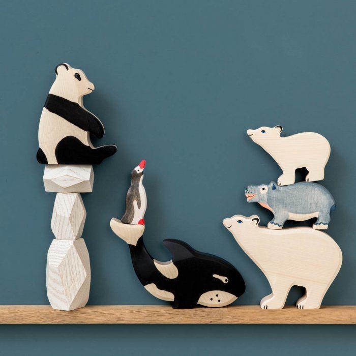 Animaux en bois Holztiger : Ours, pingouin, panda, hippopotame et orque Wood animals