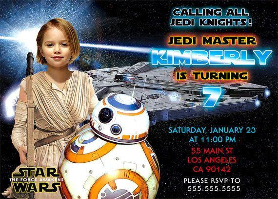 The Force Awakens Digital Invitations Star Wars Birthday