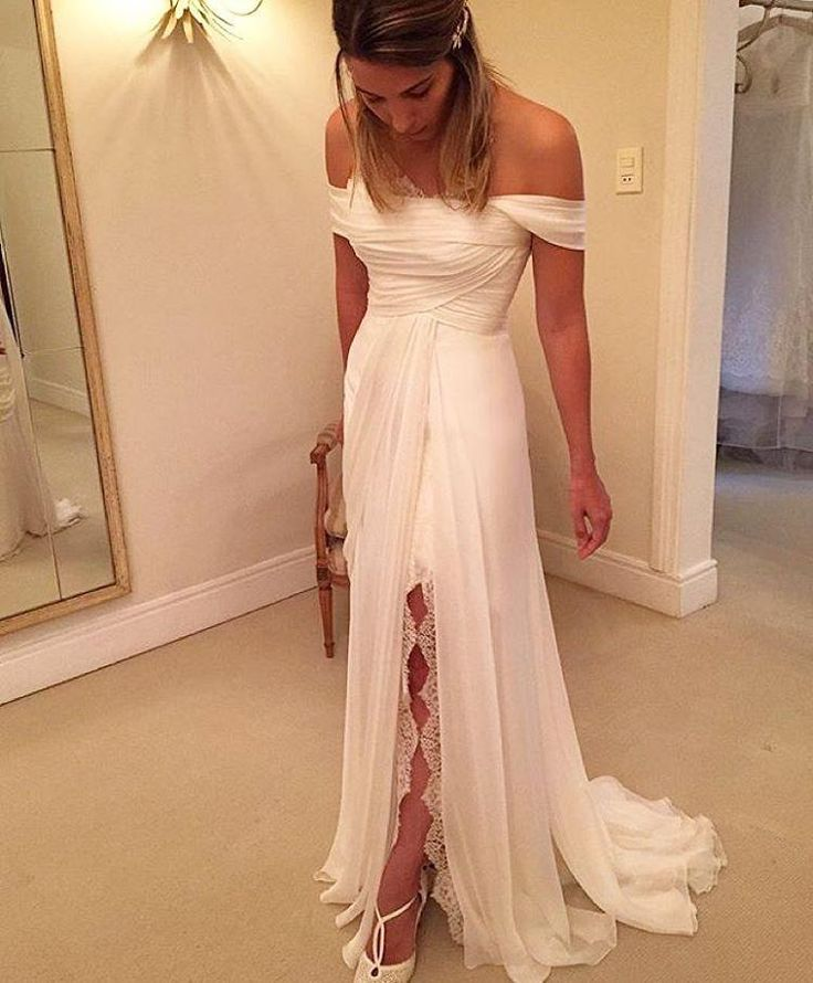 Beach Wedding Dresses Off Shoulder High Split Chiffon A Line Boho Bridal Gowns 2016 Summer Lace Pleated Women's Formal Wear Cheap Custom Online with $104.13/Piece on Marrysa's Store | DHgate.com