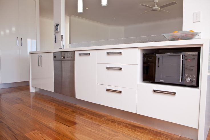 Combining draws and cupboards will maximise the usable space in your kitchen. www.onecallkitchens.com.au