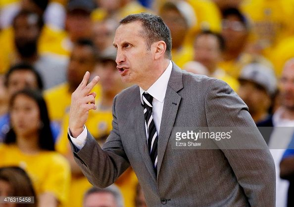 Cleveland Cavs head coach David Blatt reacts during Game 2 of the NBA Finals