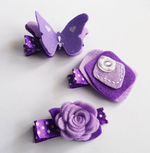 Hey, I found this really awesome Etsy listing at http://www.etsy.com/listing/158638032/felt-hair-clip-set-of-3-pieces-butterfly