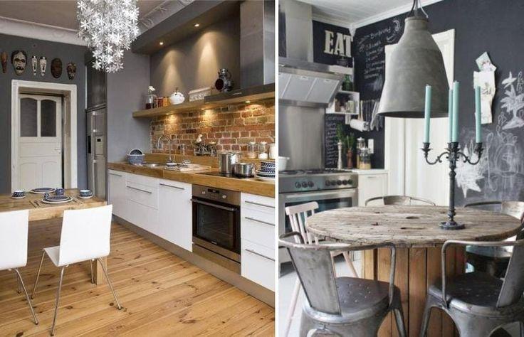 Деревянный стол в интерьере кухни в стиле лофт
