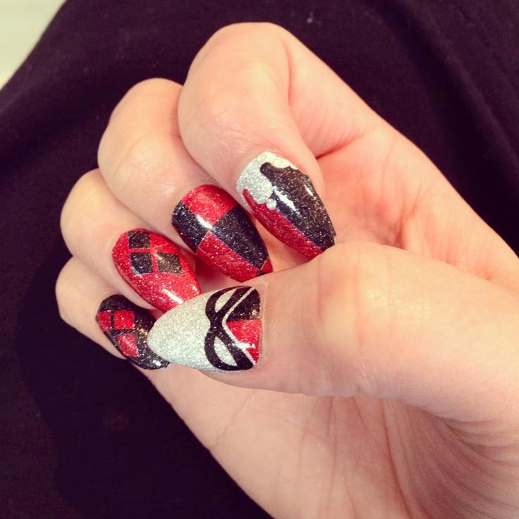 """ESPIONAGE COSMETICS - HARLEY QUINN NAIL WRAPS - Wicked nail wraps in homage to Harley Quinn, the bubbliest super-villain/lunatic around. I can't think of a more glittery way to say """"Don't mess with me."""""""