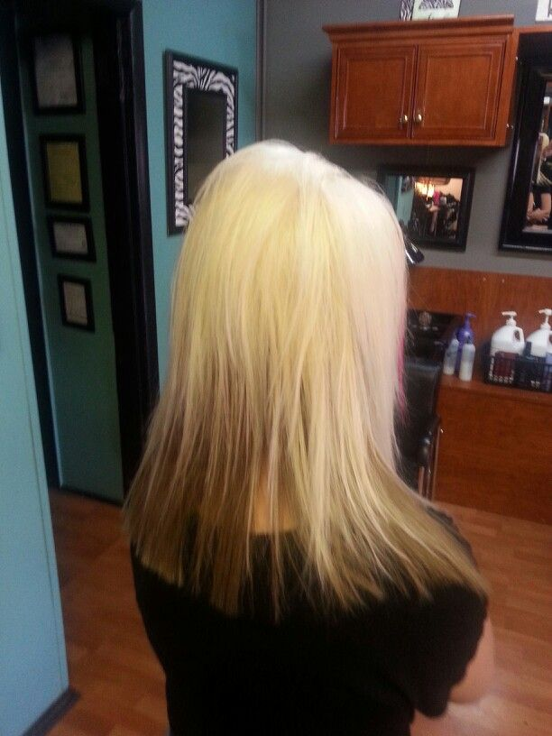 Platinum with Carmel reverse ombre hair color for blondes ...