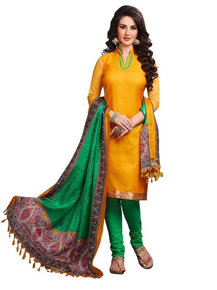 Conspicuous yellow color kameez crafted on jute silk with fancy lace. Item Code : SLEB13006 www.bharatplaza.com/new-arrivals/salwar-kameez.html
