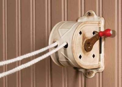"Crank Clothesline    Mother Nature powers a fresh-air dryer. Functional. Cord extends to 92"". Mounts to wall. 5"".       $12.95"