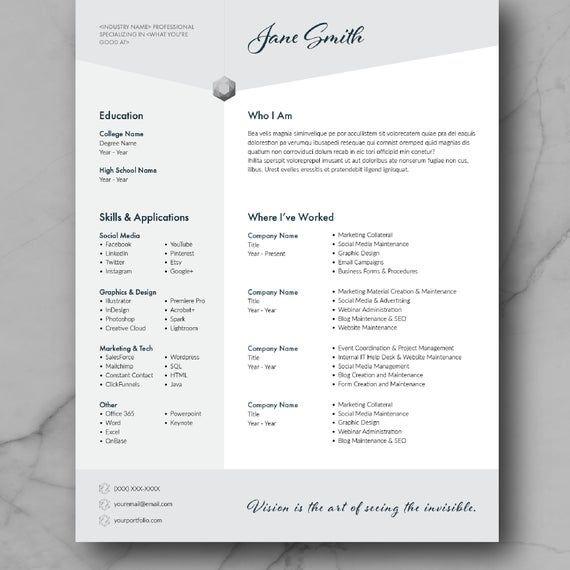 Resume Template Cv Template Adobe Indesign Cv Design Marketing Creative Graphic Design Free Indesign Resume Template Cv Template Free Indesign Resume Template