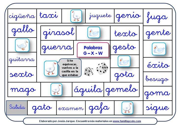 Juego de la oca para reforzar la lectura de palabras con g, x, w