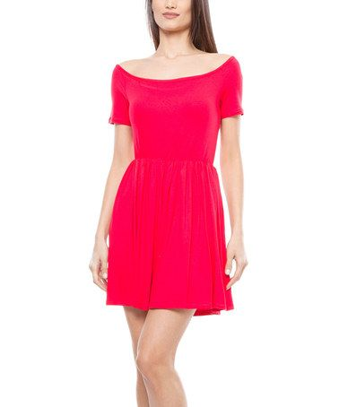 This Red Boatneck Fit & Flare Dress is perfect! #zulilyfinds