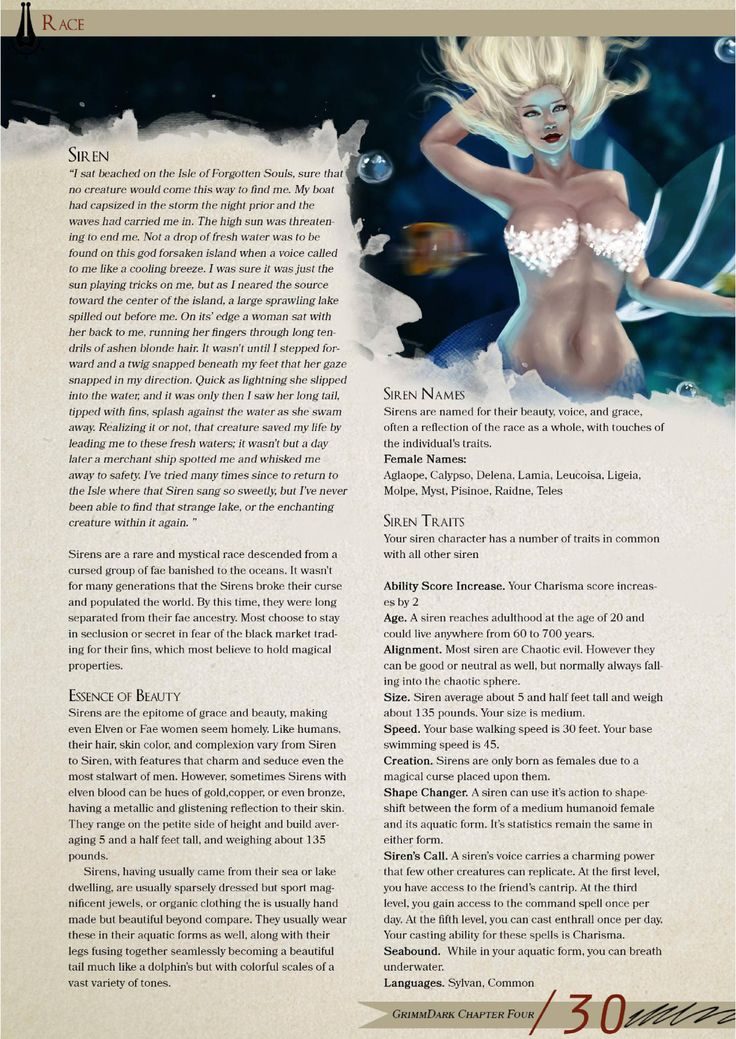 DnD 5e Homebrew — Siren Race by StriderT