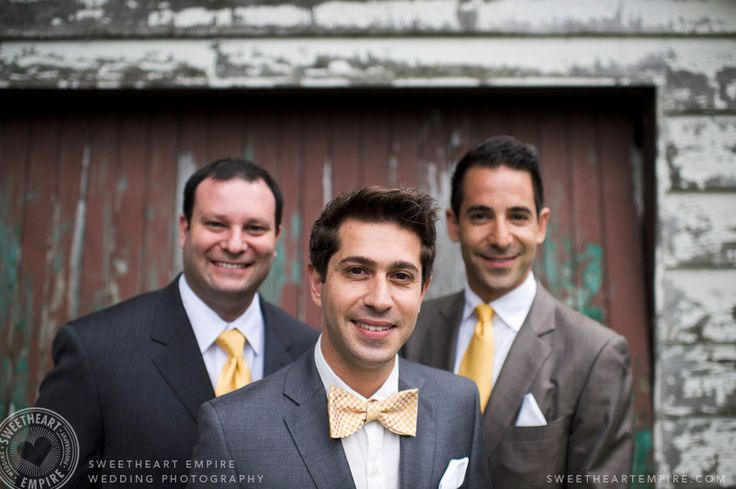 Groom and groomsmen in yellow bowtie and yellow ties. Cottage wedding, jewish wedding, Georgina Ontario. #sweetheartempire