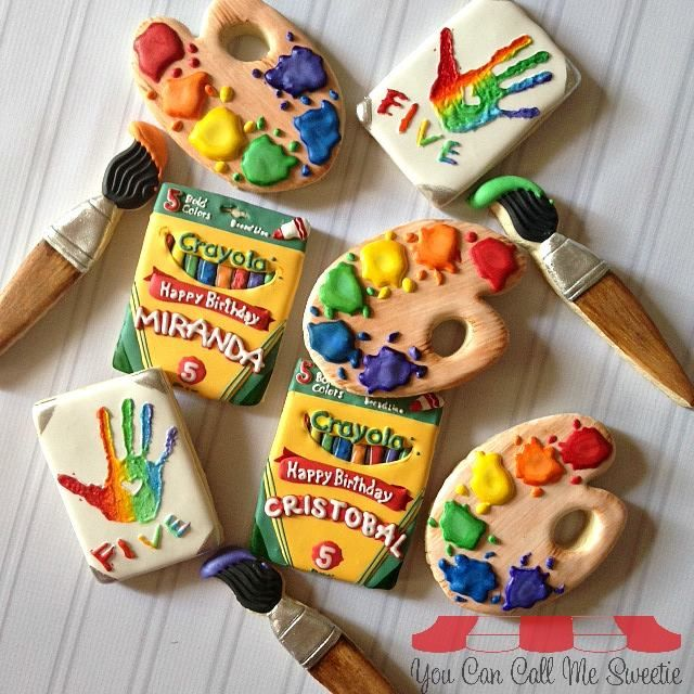 Crayola themed cookies -  For all your cake decorating supplies, please visit craftcompany.co.uk