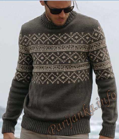 Пуловер с жаккардовым узором (м) 575 Creations 12/13 № 2984