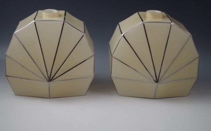 ART DECO CZECHOSLOVAKIA ART GLASS SET OF 2 LAMPS -LAMP BASES -MARKED #ArtDeco #MOSER