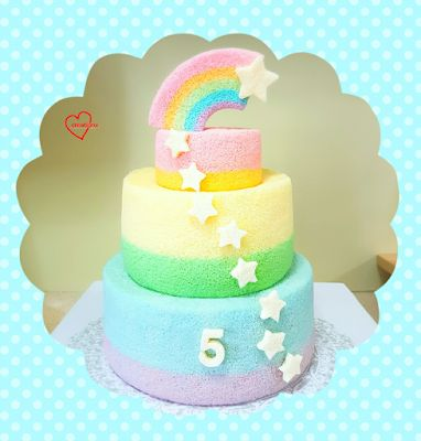 Loving Creations for You: 'Rainbow Shooting Stars' Rainbow Tier Chiffon Cake...