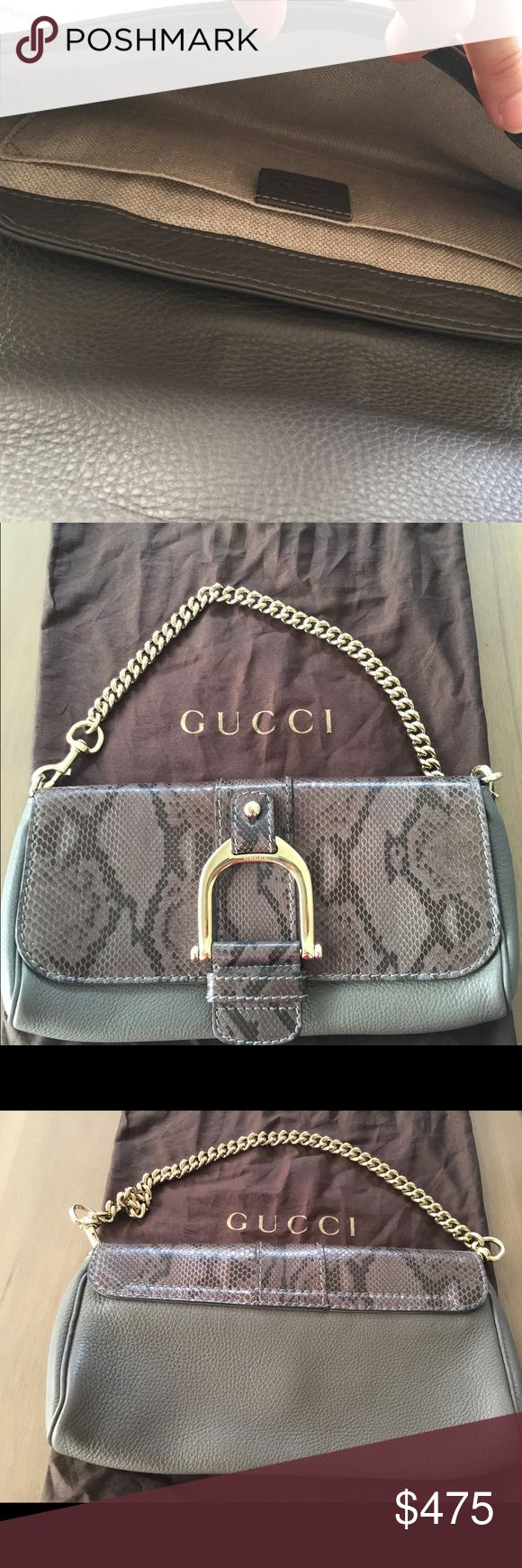 """Authentic Gucci evening bag Gray """"Greenwich"""" Gucci python leather evening bag. 💯 authentic. No receipt just dust bag, no trades just selling. Thanks Gucci Bags Shoulder Bags"""