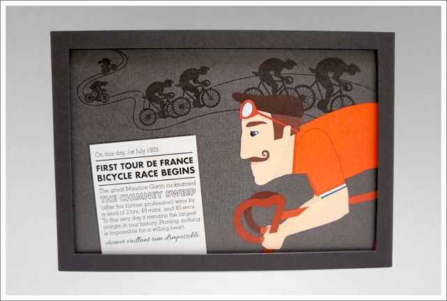 On This Day (Tour de France). July. Minx Creative. #design #graphicdesign #print #illustration #typography #series #onthisday #cards #postcards