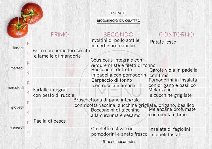 menu settimanale di giugno Ricominciodaquattro