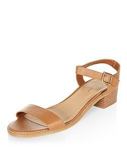 51cac9b2de5 Tan Low Block Heel Sandals