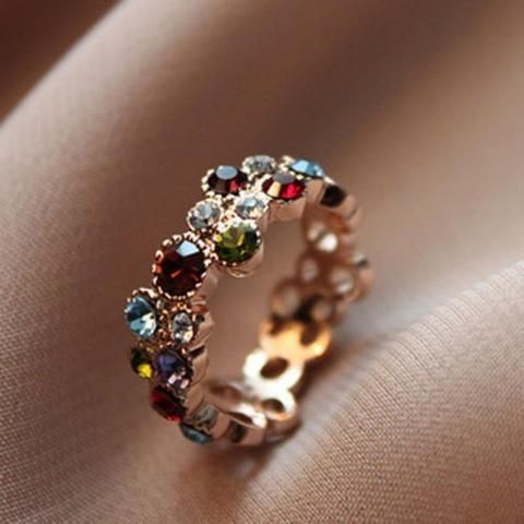 Austrian Crystal Stellux 18 Gold Plated Flower Pattern Love Round Multicolor Ring Elegant Fashion