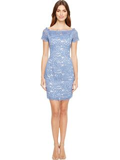 3e9eb22c Adrianna Papell Off the Shoulder Lace Sheath Dress with Contrast Lining