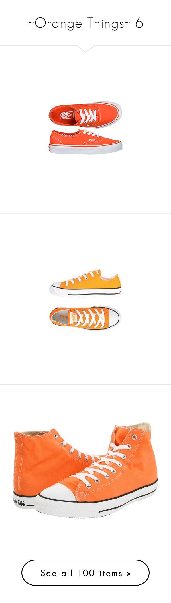 """~Orange Things~ 6"" by my-shiny-shackles ❤ liked on Polyvore featuring shoes, sneakers, vans, orange, vans footwear, orange shoes, vans sneakers, vans trainers, orange sneakers and converse"