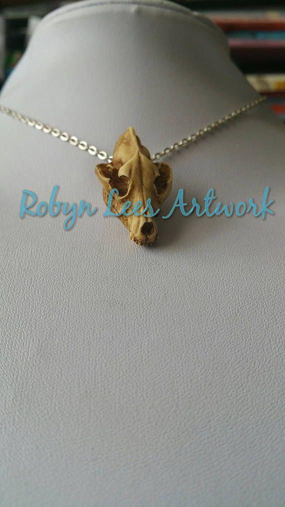 Antikisiert Harz Wolf Hund Schädel Halskette Silber oder