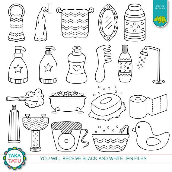 Shower Time Digital Stamp Pack Black And White Clipart Etsy Digital Stamps How To Draw Hands Doodles