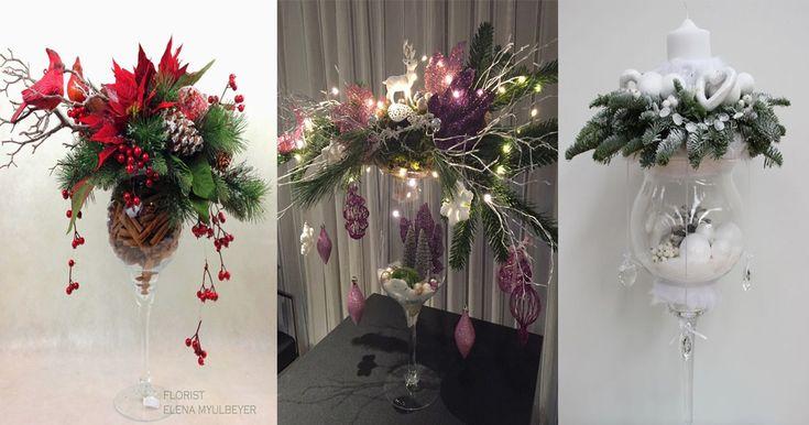 Utiliza copas de cristal para realizar bellos centros de mesa navideños - Dale Detalles