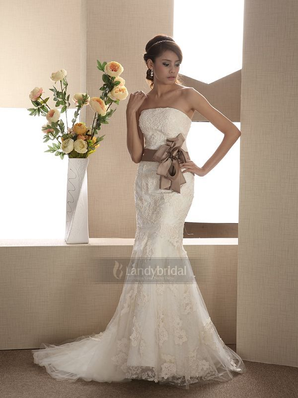 ウェディングドレス マーメイド リボンの色が変更可能 スパンコール 005170013003