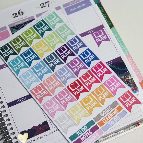 "30 ""Plan!"" Page Flag Die-Cut Stickers // (Perfect for Erin Condren Life Planners)"