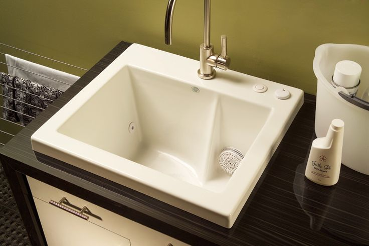 Jentle Jet® Laundry Sink 120J  Innovative use of the power of micro-jets to thoroughly launder delicate washables. Clean lines. Available for drop-in or undermount application. Available options.    2008 Silver ADEX Award