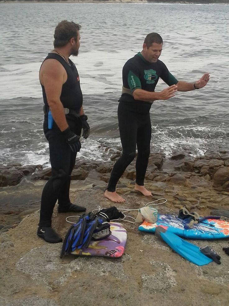 Quinton Schemel and Werner van Staden at Gonubie Slipway, South Africa .