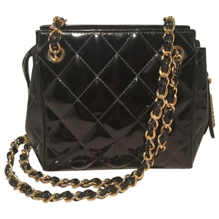 Chanel Vintage Black Quilted Black Patent Leather Mini Shoulder Bag