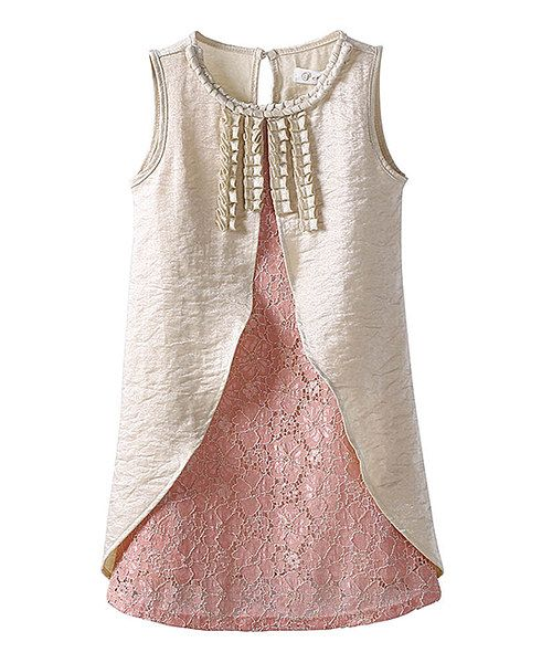 Look at this Mommy's Little Peanut Pink & Cream Shift Dress - Toddler & Girls on #zulily today!