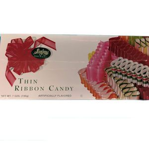 Our Thin Ribbon Candy is the classic thin ribbon your remember from Christmases past! Assorted flavors in each box! This candy is Kosher and Gluten Free.