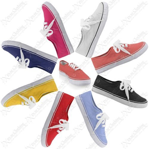 New Womens Shoes Girls Ladies Flat Canvas Pumps Lace Up Casual