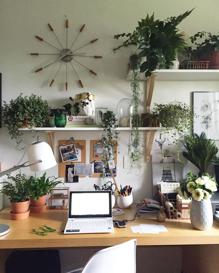 Cozy Homeoffice Decor:  Home Office Spaces With Lots Of Houseplants. #homedecor